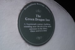 Photo of Green Dragon Inn, Wymondham green plaque