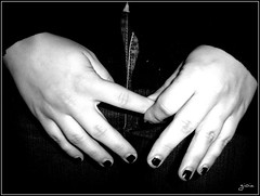 hands. (trouble*) Tags: bw black hands nails ih