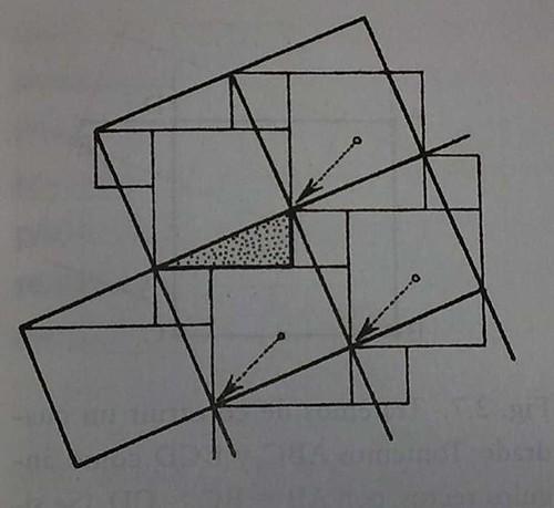 Figura 3: El retículo de cuadrados inclinados puede desplazarse por una traslación, de modo que los vértices del retículo inclinado están sobre los vértices del retículo de dos cuadrados del original, lo que muestra que el lado de un cuadrado inclinado es la hipotenusa de un triángulo rectángulo (sombreado) cuyos otros dos lados son los de los dos cuadrados originales.