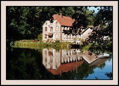 Double tranquility (Jan Gee) Tags: house lake france reflection wet water reflections pond reflexions vogezen vosgesdunord