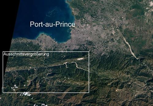 Haiti  Erdbeben 15 Jan 2010 Erdrutsche Ausschnitt