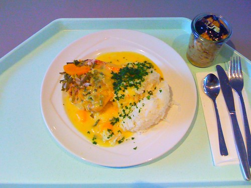 Seehecht in Pfirsisch-Ingwer-Sud / hake with peach ginger stock