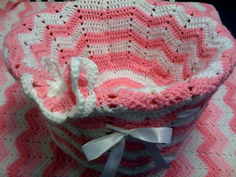 Crocheted Butterfly and Basket.