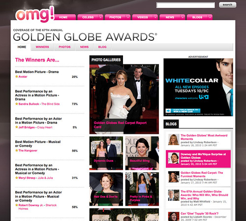 Yahoo omg! Golden Globes 2010 site screenshot
