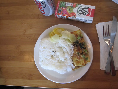 Tofu steak, rice, pickles, V8, soda ($1.25)