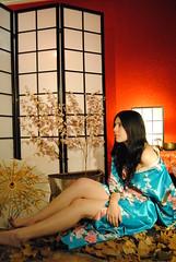GEISHA V (Beatrice M. Navarro) Tags: blue red sexy leaves japan umbrella withe geisha sakura kimono necrophilia