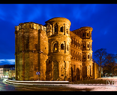 Trier - Blue Hour at Porta Nigra (Yen Baet) Tags: travel winter snow church architecture germany twilight ancient europe cathedral dusk antique medieval bluehour oldtown romanempire trier portanigra deutchland ancientrome rhinelandpalatinate domstpeter  moselleriver stgangolfchurch triercathdral