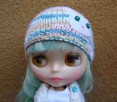 Knit hat with felt bunny applique
