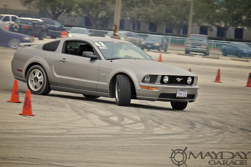 You think I was kidding? A mustang making its rounds amongst the mainly JDM cars