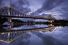 Reflections of a Story - As viewed from the Brisbane Riverside Walkway (noompty) Tags: bridge water ferry clouds sunrise reflections river geotagged pentax australia wideangle brisbane reflexions brisbaneriver storybridge cloudscapes k7 sigma1020mmf456 justpentax reflectyourworld pentaxart pentaxk7