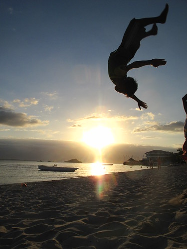 Acrobat at sunset, Malapascua, Philippines