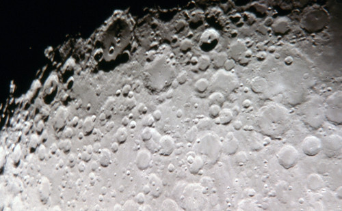 Closeup of Moon Surface Showing Craters