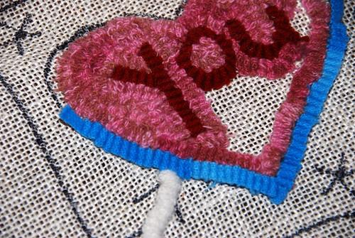 Valentines rug hooking
