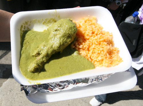 Antojitos de la Abuelita: Mexico City green mole with chicken & rice