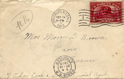 Parcel Post Stamp Used to Paris, France, 1913