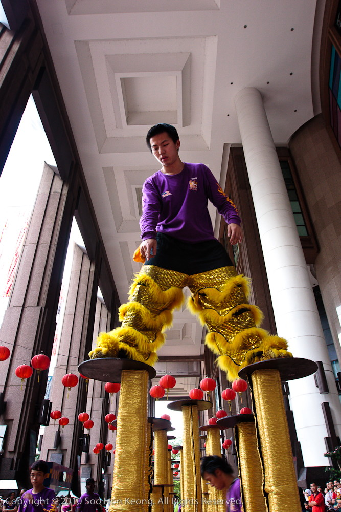 Lion Dancer Checking on Stilts @ Berjaya Times Square, KL, Malaysia