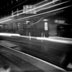 streaking lights (Rasterman74) Tags: ireland dublin film night mediumformat luas longshutter lightstreaks holga120cfn fujineopan400 busarus