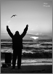 Yes! I can fly! (andzer) Tags: winter sunset shadow sea sky people bw man bird up fly nikon hand wave scout andreas explore greece 2010 myfaves chalkidiki d300 nikiti woter zervas andzer wwwandzergr