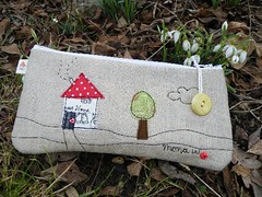 GIVE AWAY ... (monaw2008) Tags: cloud house tree bird handmade fabric giveaway pouch applique freebie monaw monaw2008