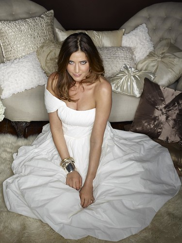 UK model Lisa Snowdon in Ultra Soft Kleenex tissue dress
