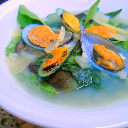 Mussels Ginger Soup With Chili Leaves