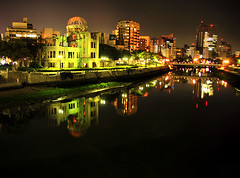 Hiroshima (` Toshio ') Tags: city building water japan architecture night reflections river asian japanese asia cityscape nightshot destruction nuclear hiroshima littleboy 1945 unescoworldheritage atomicbomb abombdome hiroshimaprefecture toshio greendome janletzel industrialpromotionhall motoyasuriver abombbuilding symbolofglobalpeace