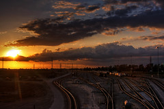 HDR Sunset over Union Pacific West Colton Yard (Dave Toussaint (www.photographersnature.com)) Tags: california railroad travel sunset vacation usa nature up train canon landscape photo day cloudy tracks picture photographers rail colton unionpacific locomotive hdr rialto 2010 photomatix classificationyard 40d topazadjust photographersnaturecom davetoussaint westcolton westcoltonyard