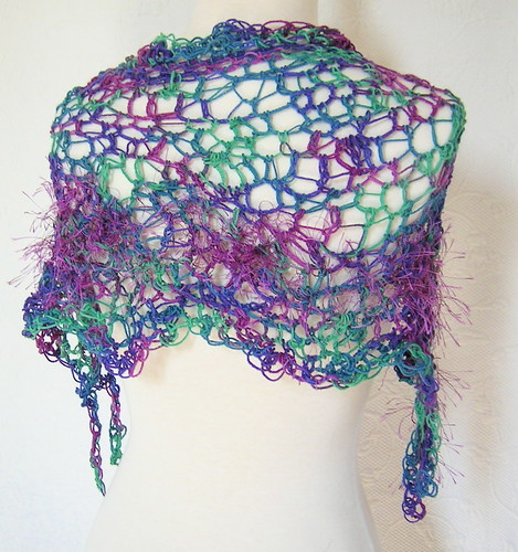 Funky Freeform Crochet Capelet - Back