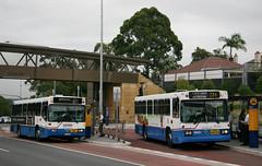State Transit Authority (Sydney Buses) M.A.N SL202 3268 Mercedes O305 MK IV 2745 in Longueville Road near Epping Road, Lane Cove, Sydney, N.S.W. Australia.