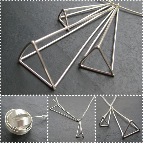 Beth Pohlman silver jewellery pyramid necklace