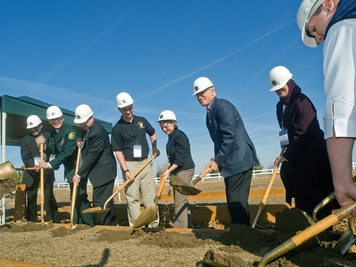 --People's Garden Groundbreaking L to R: Carl Powell, Business Community Liaison, Centennial JCCCC, Harv Forsgren, Regional Forester, Intermountain Region, Larry Dawson, Director, Forest Service Job Corps Michael Rolfe, President, Student Government Association, Centennial JCCCC, Meryl L.R. Harrel. Special Assistant to the Under Secretary, Natural Resources and Environment, USDA, Harris Sherman, Under Secretary, Natural Resources and Environment, USDA, Safiya Samman, Director, Conservation Education, USDA Forest Service