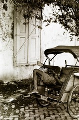 Nap Time (khaniv13) Tags: bw film sleep cycle rest semarang rickshaw becak nikonfe2 centraljava threewheeled ilfordpan100 sooc kotalama khaniv13
