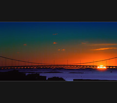 A New Time! (Faisal!) Tags: ocean bridge sky sun seascape color colour water night clouds gteborg landscape dawn flickr time dramatic places hanging drama sunsetsunrise