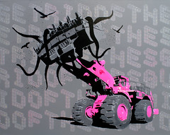 Get Rid Of The Squid - Pink (: Penny :) Tags: pink urban london art toxic gold stencil funny gallery jcb police penny edition n5 90 multilayer gallery90