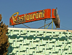 RESTAURANT & AQUA BRICKS (FotoEdge) Tags: blue trees sky usa signs newmexico southwest classic vintage restaurant design aqua neon desert steel bricks rusty sunny roadtrip retro evergreen chef weathered cypress cafeteria flaking 2009 crusty farmington trays remnant torquoise bobtravaglione chefbernies