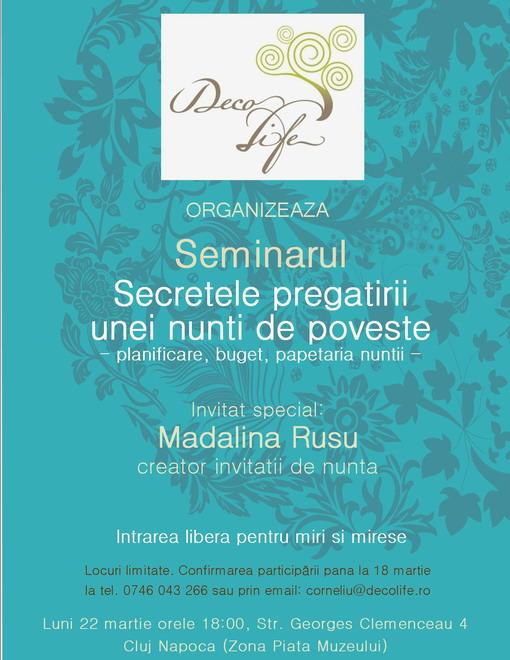 Seminar gratuit pentru miri: Secretele pregătirii unei nunți de poveste - planificare, buget, papetăria nunții