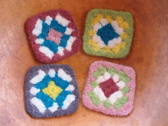 Felted Granny Coasters