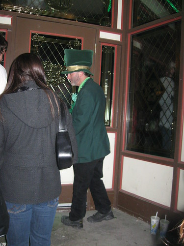 This leprechaun kept trying to butt in front of us in line. Sneaky bastard.