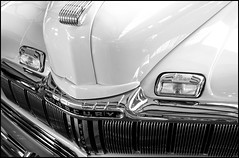 1946 Mercury Woodie Grille Detail (greenthumb_38) Tags: bw reflection blackwhite woody hood duotone lamps grille rare woodie nickalexander mercuryeight 1946mercury jeffreybass woodiecollection 1946mercurywoodie