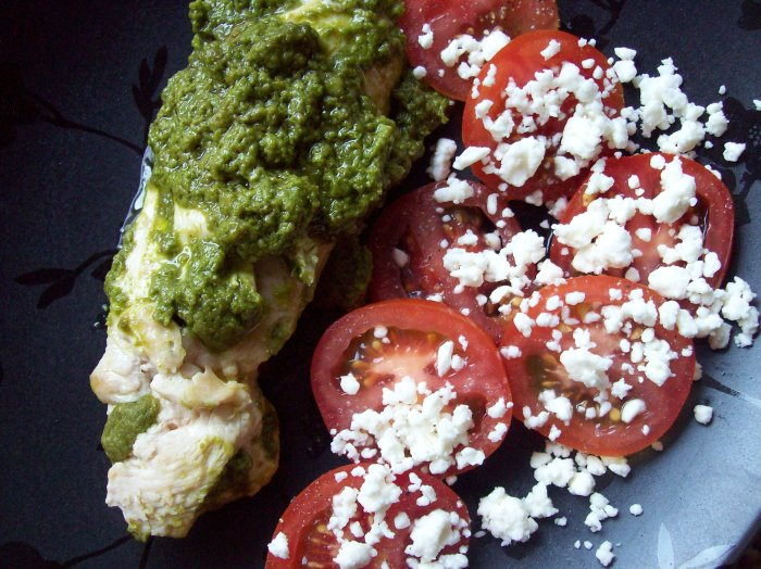 pesto chicken with campari tomatoes and feta