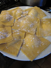 Three cheese ravioli ready to cook