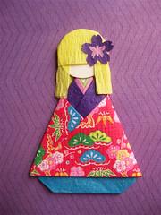 Origami Paper Doll - Marielle (umeorigami) Tags: japan japanese origami doll yukata kimono paperdoll washi ningyo chiyogami shioriningyo warabeningyo