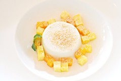 White chocolate and coconut panna cotta served with a salad of pineapple and mangoes, The White Rabbit, Dempsey
