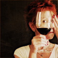 317/365 through a glass, darkly (beryl) Tags: selfportrait eye me glass square hand wine fingers clarity sp wineglass redwine redhair squarecrop whitetshirt throughaglassdarkly 1corinthians13 bsquare 365days not selfiesquared texturesquared