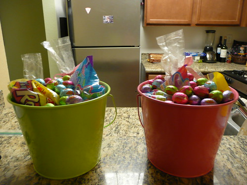 kelley made easter baskets.  lordy!