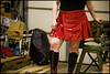 Red vinyl mini-skirt