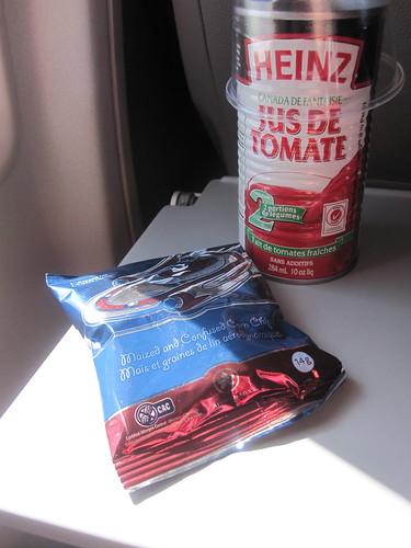 Tomato juice, plane snack