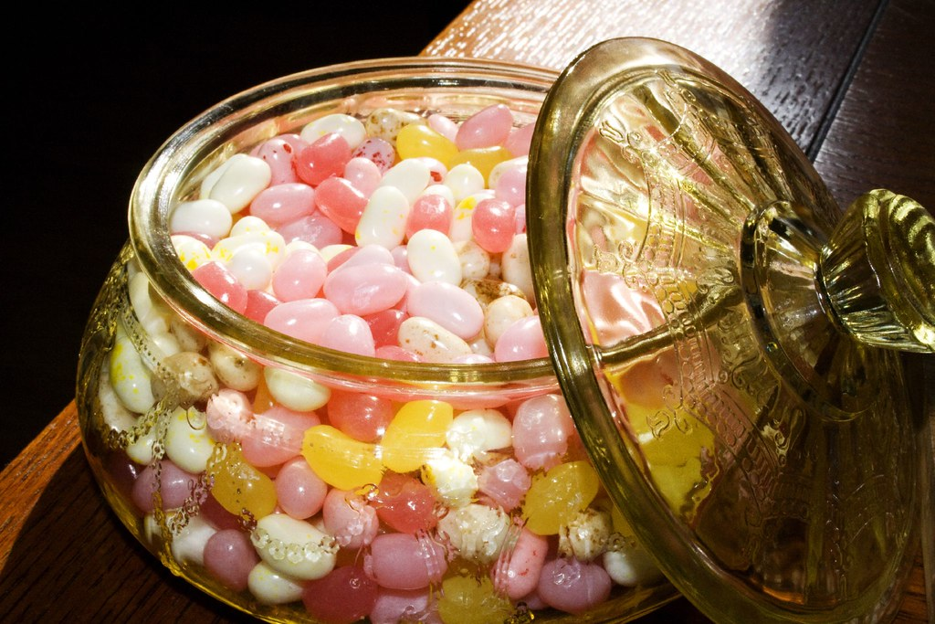 Candy dish and jelly beans