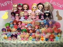 Happy Easter from the MakeItCute Gang!! (imakeitcute) Tags: easter dal blythe strawberryshortcake familypicture 2010 ssc danboard