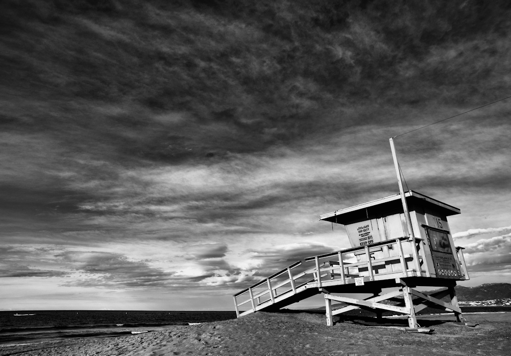 Lifeguard shack and sky